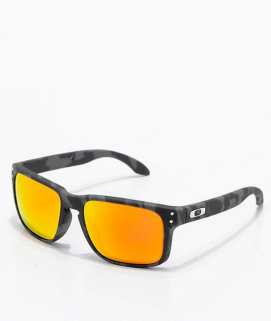 fc77db06a4 Oakley Holbrook Black Camo & Prizm Ruby Sunglasses   Zumiez