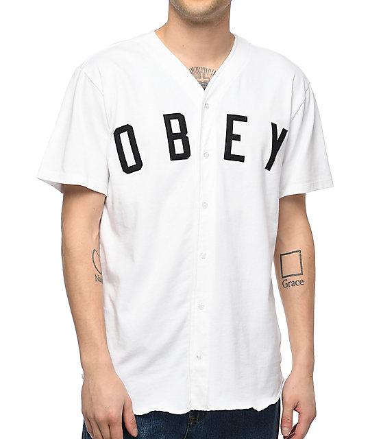 super popular db691 874aa Obey Charlie White Baseball Jersey