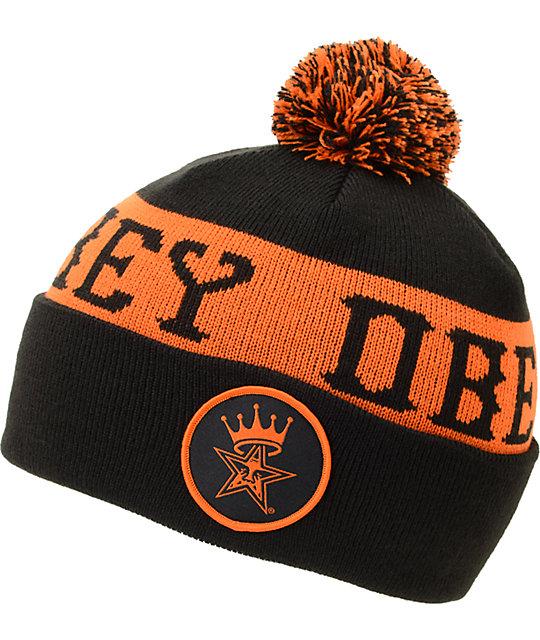 88643832b Obey Crowned Black & Orange Pom Cuff Beanie