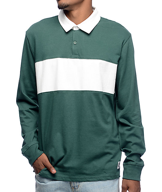 b8f493a54131 Obey Governors Green & White Long Sleeve Polo Shirt | Zumiez