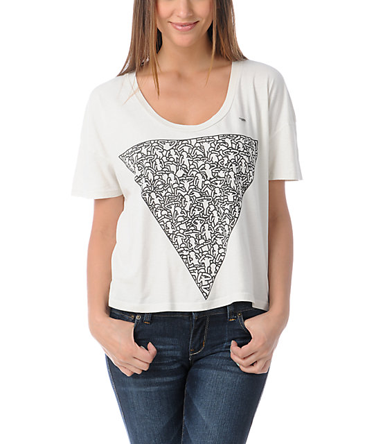 obey keith haring triangle vintage crop t shirt zumiez. Black Bedroom Furniture Sets. Home Design Ideas