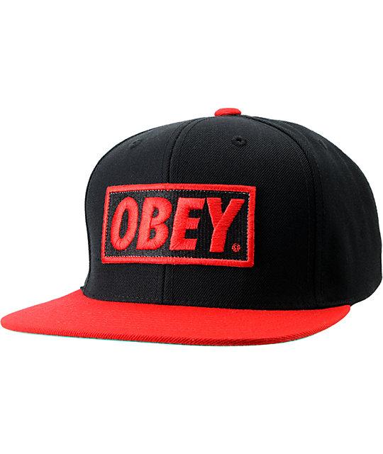 0b51eb450f134d Obey Original Black & Red Snapback Hat   Zumiez