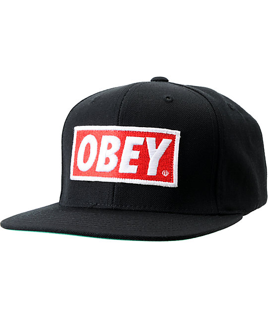 33c7b4286be4b5 Obey Original Black Snapback Hat   Zumiez