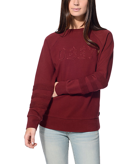 8313be13f61 Obey Shadow Stripe Burgundy Crew Neck Sweatshirt