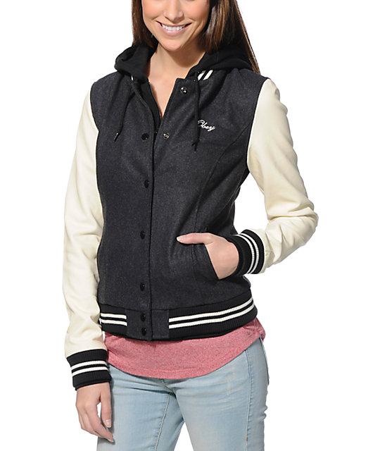 2c2633fd2 Obey The Varsity Charcoal & Cream Hooded Varsity Jacket