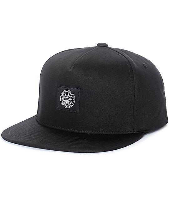 3efa79de6a286f Obey Worldwide Seal Black Snapback Hat   Zumiez