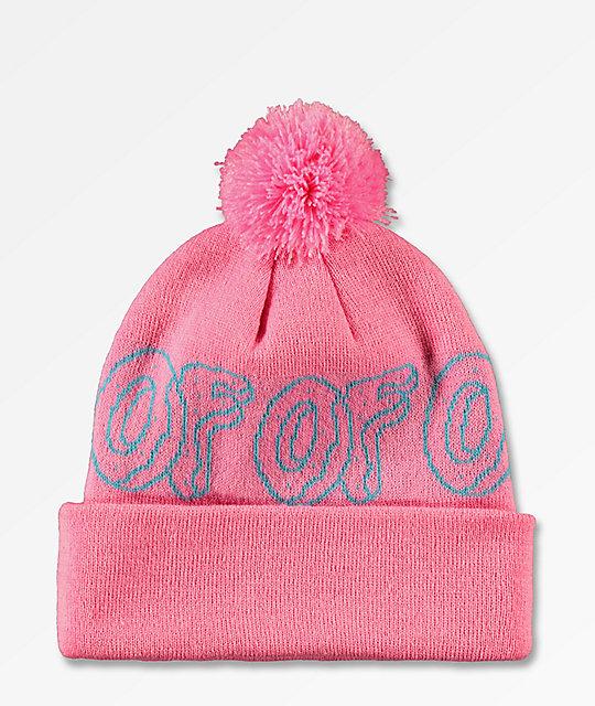 8c7b0437f7644f Odd Future Logo Pink & Turquoise Pom Beanie | Zumiez