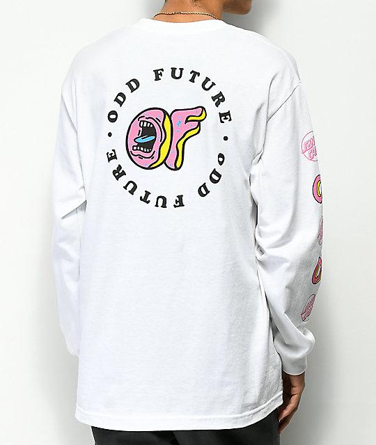 3889c2ec Odd Future x Santa Cruz Screaming Donut White Long Sleeve T-Shirt | Zumiez
