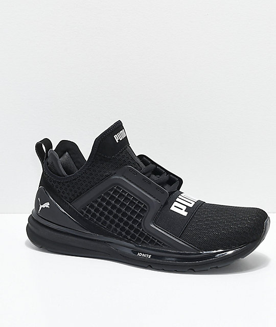 size 40 e97fc d6627 PUMA Ignite Limitless All Black Knit Shoes