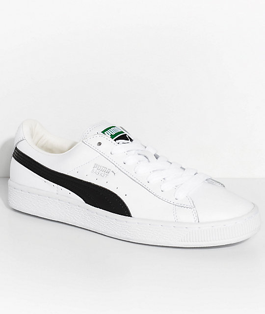 brand new a4bbe 5c283 PUMA Basket Classic LFS White & Black Shoes