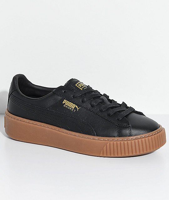 promo code 85c2c 5637c PUMA Basket Platform Black & Gum Shoes