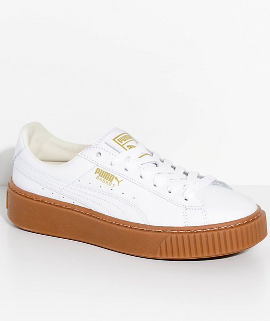 sports shoes 31674 767e7 PUMA Basket Platform Core White & Gum Shoes