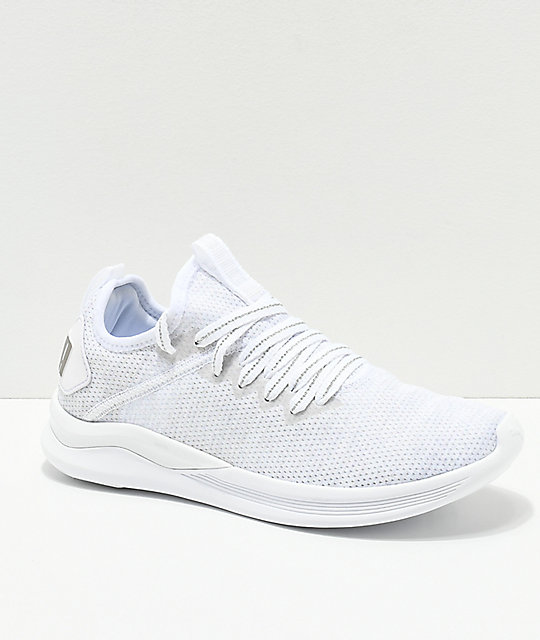 on sale 54947 642b3 PUMA Ignite Flash Evoknit Grey & White Shoes
