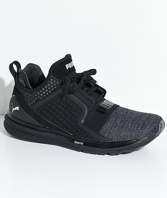 the latest edfee e574b PUMA Ignite Limitless Knit Black & Silver Shoes