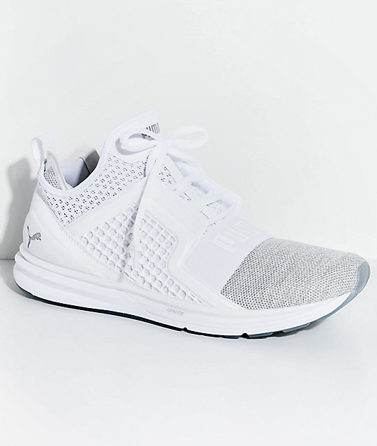 new product 85c2d 58e33 PUMA Ignite Limitless Knit White & Silver Shoes