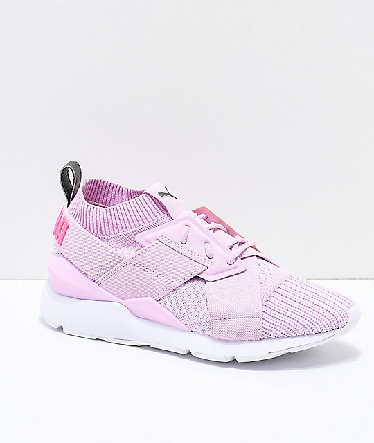 premium selection d8d53 f77f7 PUMA Muse Evoknit Winsome Orchid Pink & White Shoes