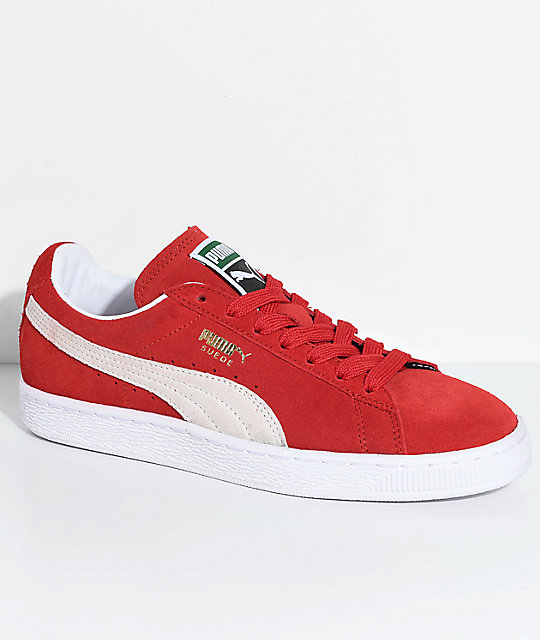 separation shoes 72417 0c717 PUMA Suede Classic+ High Risk Red & White Shoes