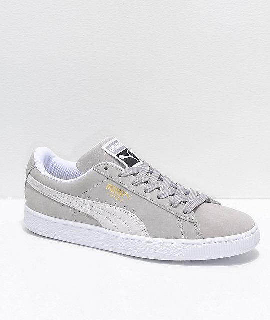check out c31e2 5ac4b PUMA Suede Classic+ Ash & White Shoes