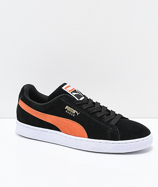 check out 54993 12b68 PUMA Suede Classic+ Black & Firecracker Orange Shoes
