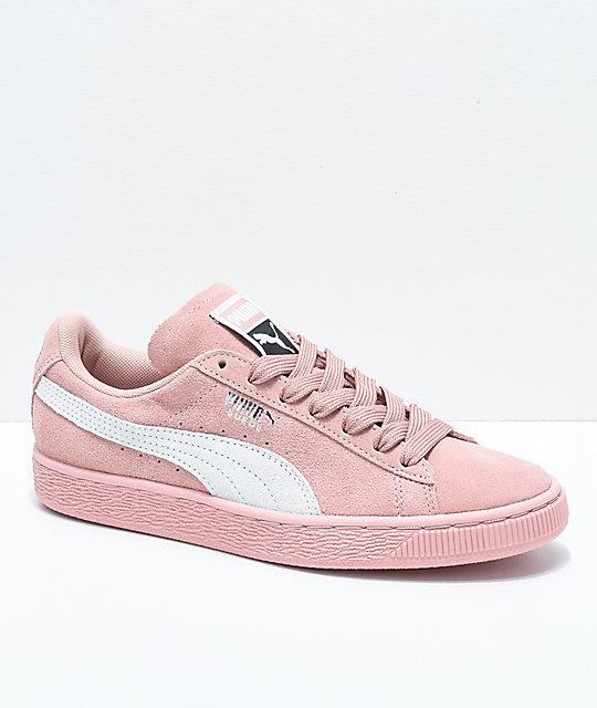 superior quality 55824 c9fe6 PUMA Suede Classic+ Peach Beige & White Shoes