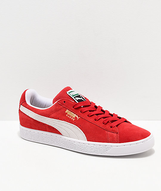 detailed look c903d c7c94 PUMA Suede Classic+ Red & White Shoes