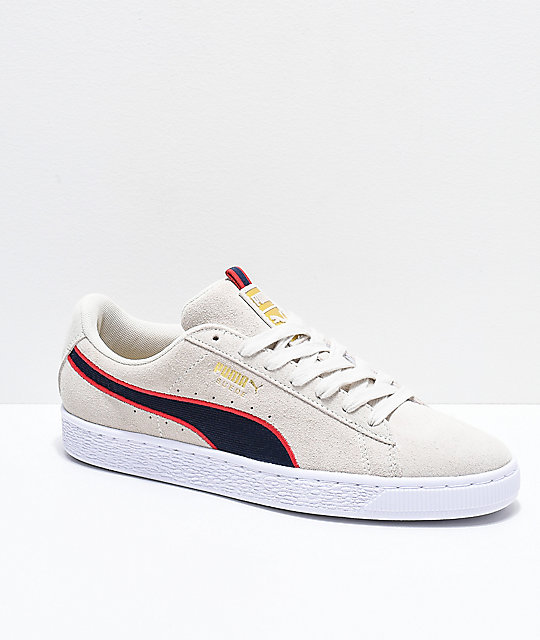 nouvelle arrivee 10454 04a6f PUMA Suede Classic Sport Stripes White & Red Shoes