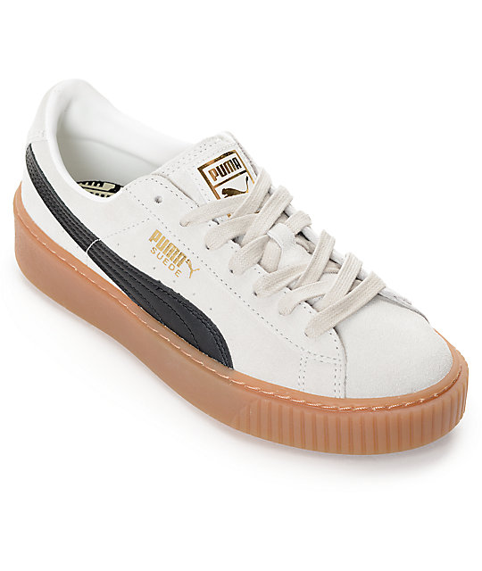 buy popular 54280 9371d PUMA Suede Platform Core White & Black Shoes (Womens)