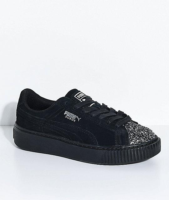 timeless design 81364 e59b3 PUMA Suede Platform Crushed Gem & Black Shoes