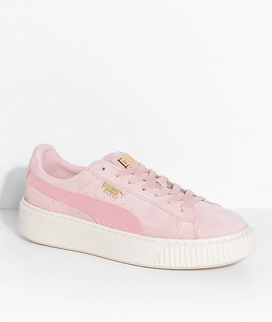 official photos a494c 2fc03 PUMA Suede Platform Mono Satin Pink Shoes