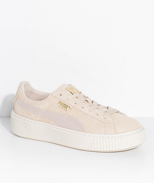hot sale online ade7b 8250a PUMA Suede Platform Mono Satin White Shoes