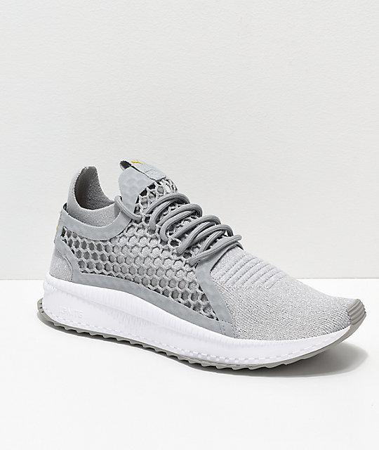 924396771 PUMA Tsugi Netfit V2 Evoknit Grey & White Shoes | Zumiez