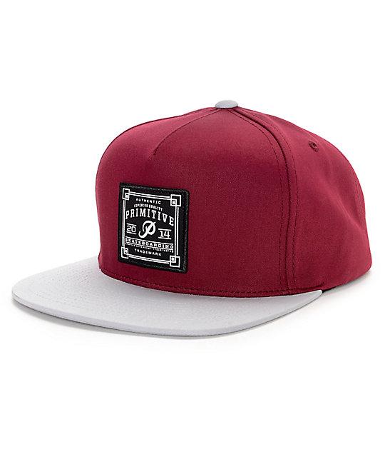 74c09789 Primitive Authentic Skate Patch Burgundy & Grey Snapback Hat | Zumiez