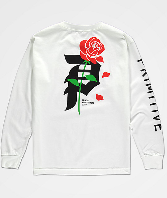 a5db080e979f Primitive Boys Heartbreak White Long Sleeve T-Shirt | Zumiez