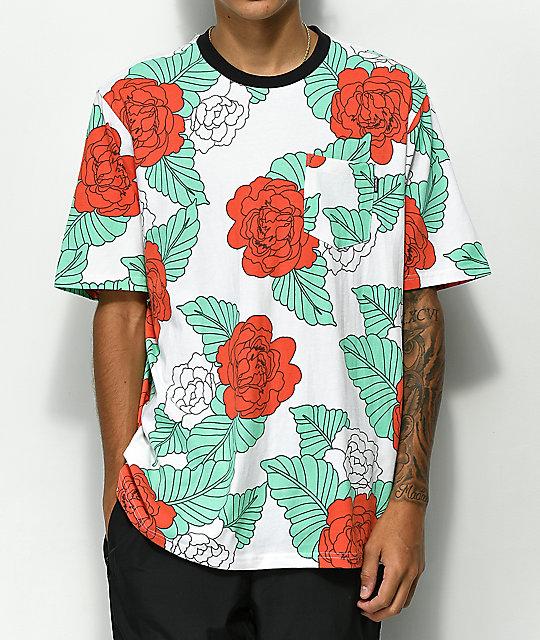 58e37490 Primitive Floral Crew White T-Shirt | Zumiez