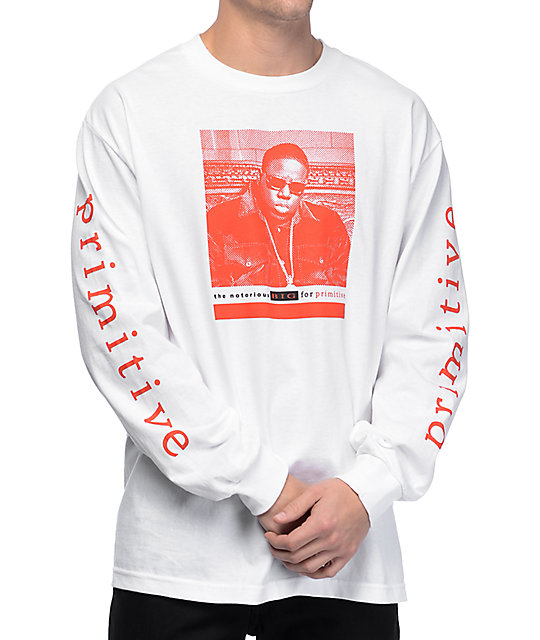 7893f793cfb1 Primitive Frank Biggie White Long Sleeve T-Shirt | Zumiez