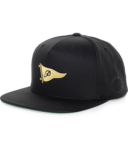 a72ea6f97 Primitive Pennant Black & Gold Snapback Hat