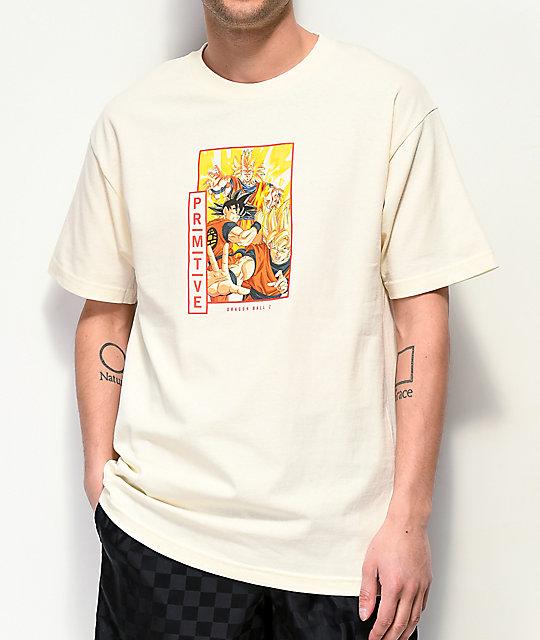 53a34d2bc Primitive x Dragon Ball Z Goku Super Saiyan Cream T-Shirt | Zumiez