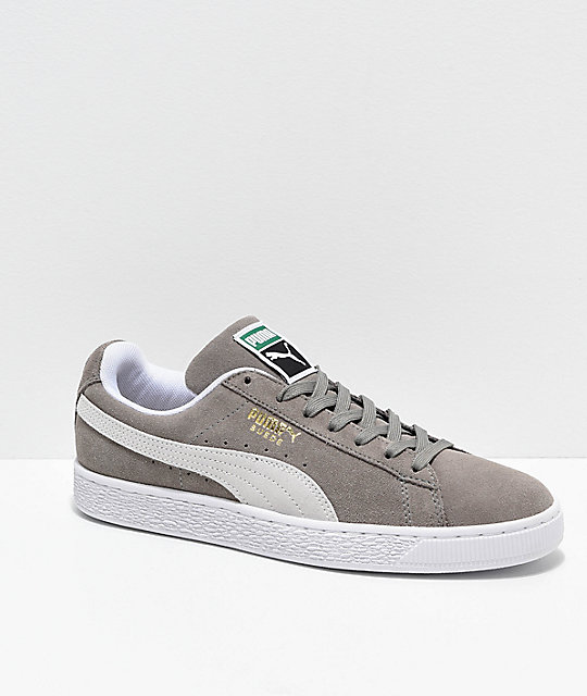 le dernier 57dc7 de1bf Puma Suede Classic+ Steeple Grey & White Shoes