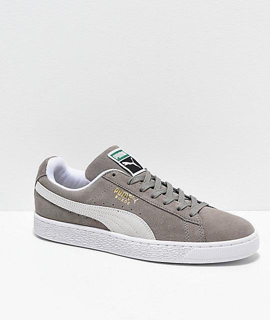 nouveau produit 95cf5 a79b8 Puma Suede Classic+ Steeple zapatos en gris y blanco