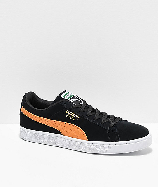 en soldes 668a7 0ba35 Puma Suede Classic Black & Orange Shoes
