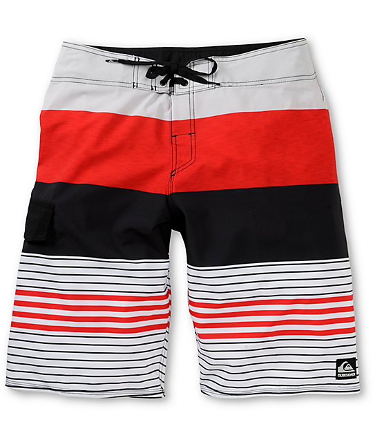 58751be9fb Quiksilver Clean And Mean Red & White Stripe Board Shorts | Zumiez