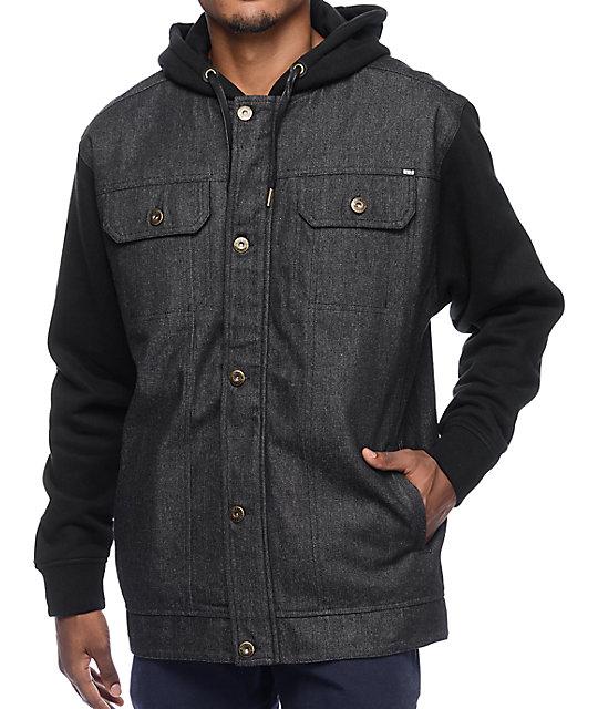 f82a10b08551 REBEL8 Faction Black Denim Vest Hooded Jacket | Zumiez