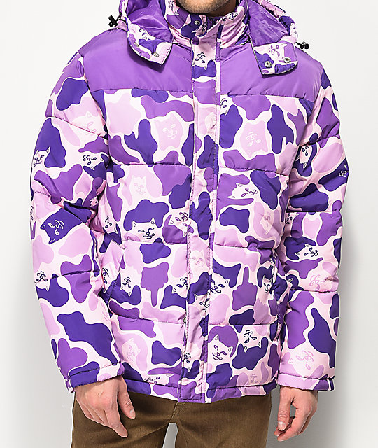 7823f90469487 RIPNDIP Nerm Purple Camo Puffer Jacket | Zumiez