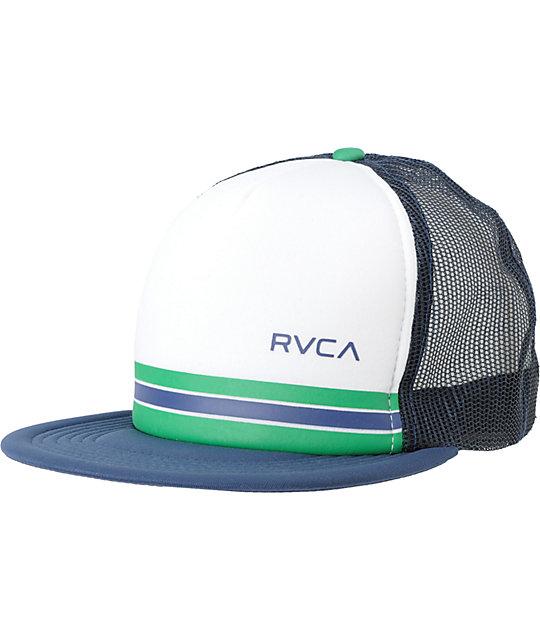 d1b3c752e5a86b RVCA Barlow Navy Snapback Trucker Hat   Zumiez