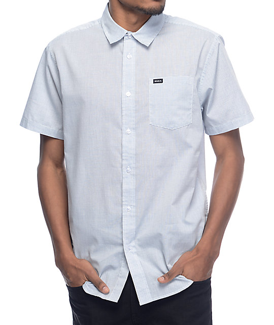 Rvca Curren White Blue Stripe Short Sleeve Button Up Shirt Zumiez