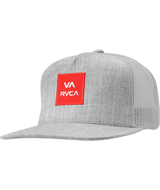 6f906a78de299d RVCA VA All The Way Heather Grey Snapback Trucker Hat   Zumiez