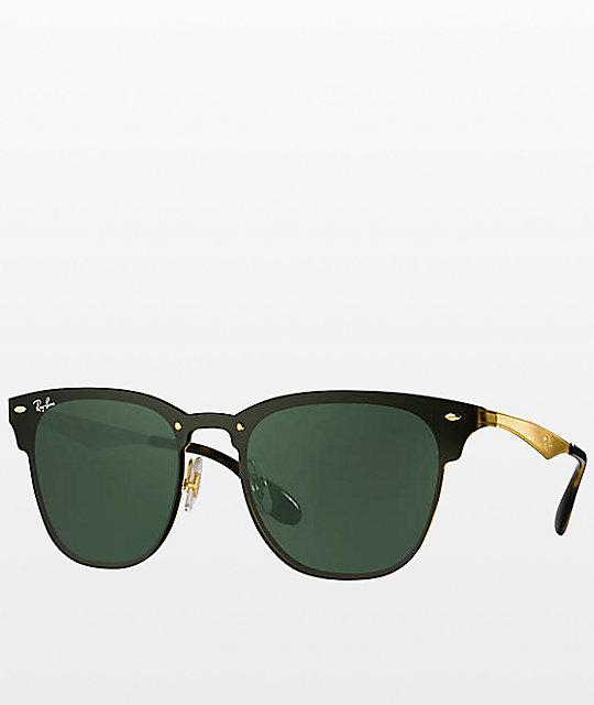 3eafe5a98 Ray-Ban Blaze Clubmaster Gold Sunglasses | Zumiez