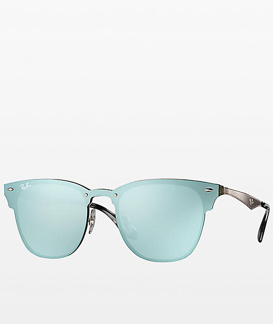 647a627be Ray-Ban Blaze Clubmaster Silver Sunglasses | Zumiez