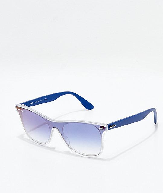 39cb91040 Ray-Ban Blaze Wayfarer Transparent Blue & Blue Gradient Mirror Polarized  Sunglasses   Zumiez
