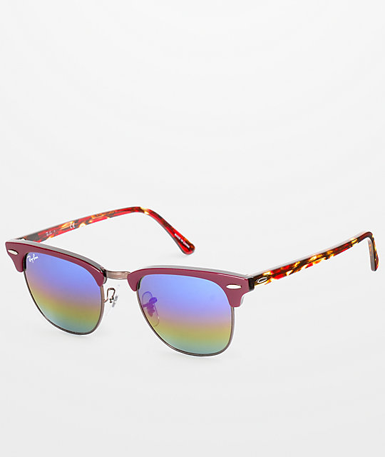 a18b748a1 Ray-Ban Clubmaster Burgundy & Rainbow Sunglasses | Zumiez